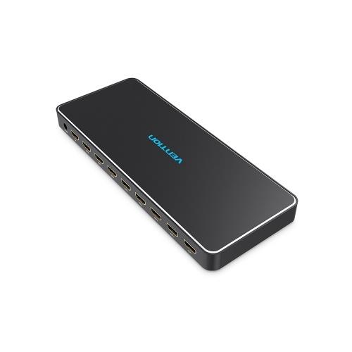 Venzione HDMI Splitter 1 × 8 porte 4K 3D HD Qualità dell'immagine 1 In 8 Out Switcher 8 porte HDMI TV Store Display pubblicitario Insegnamento multimediale Spina USA dedicata