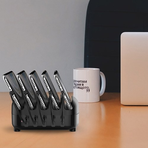 ORICO DUK-5P 5 Port USB Charger Station Dock with Holder 40W 5V2.4A*5 USB Charging for Mobile Phones Laptops Black US Plug