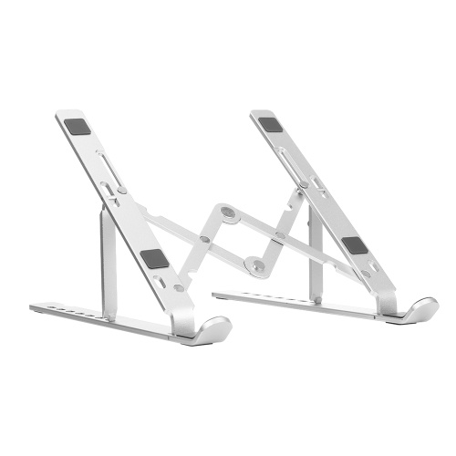 7-level Adjustable Laptop Stand Portable Aluminum Alloy Laptop Stand Foldable Non-slip Notebook Holder Silver