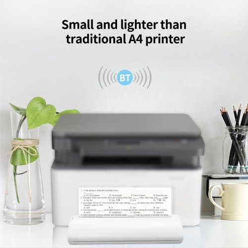 A4 Portable Thermal Printer BT Printer Built-in Battery Test Paper Document Photo Printer White US P