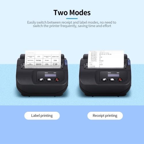 Multi-function Portable Thermal Printer Label Printer Wireless BT Mobile Printer Label Receipt Printer US Plug