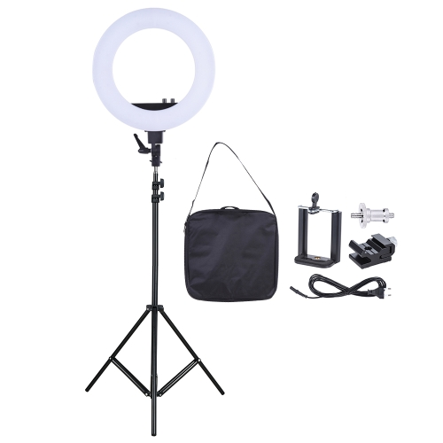 18-Zoll-LED-Video-Ring-Licht Fill-in-Lampe Studio Fotografie Beleuchtung 55W Einstellbare Helligkeit 3200-5500K Farbtemperatur mit Smartphone-Halter Cold Shoe Base Tragetasche + 2m / 6.6ft Light Stand