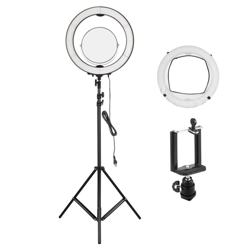 Andoer LA-650D 48cm / 18.9inch Foto / Video 600 LED Ring Licht 5500K 40W Dimmable mit 2m / 6.6ft Licht Stand + Mini Ball Kopf + Smartphone Clip + Spiegel + Soft Tuch + Tasche