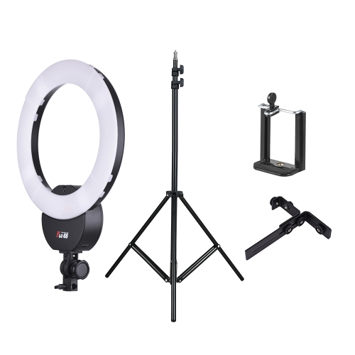 FalconEyes FLC-55 16 Inch Fluorescent Video Ring Light Lamp 55W 5600K Studio Portrait Photography Lighting with White Filter  +  2m / 6.6ft Photo Studio Light Stand with 1/4