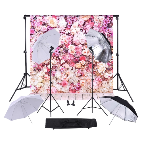 6.6 * 10ft Background Support System 45W 5500K Continuous Lighting Kit Umbrella