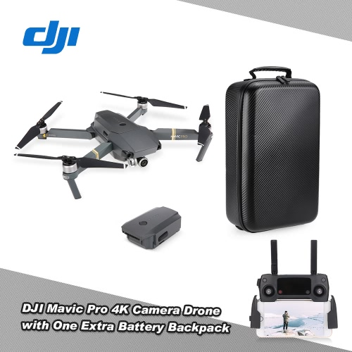 DJI Mavic Pro Foldable 4K Camera FPV RC Quadcopter with One Extra Battery / Hardshell Carbon Backpack