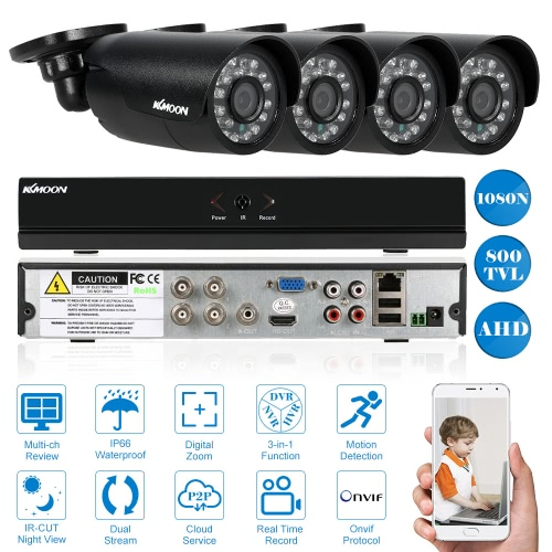 KKmoon 4CH Channel Full AHD 1080N/720P Security System