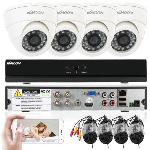 KKmoon 4ch Channel Full 960H/D1 800TVL CCTV Surveillance DVR Security System P2P Cloud Network Digital Video Recorder + 4*Indoor Camera + 4*60ft Cable