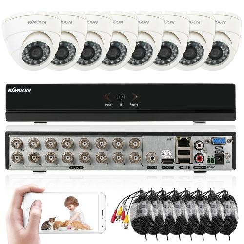 KKmoon 16ch Kanal volle 960H / D1 800TVL CCTV-Überwachung DVR Sicherheitssystem P2P Wolke Onvif Netz-Digital-Videogerät + 8 * Innenkamera + 8 * 60ft Kabel