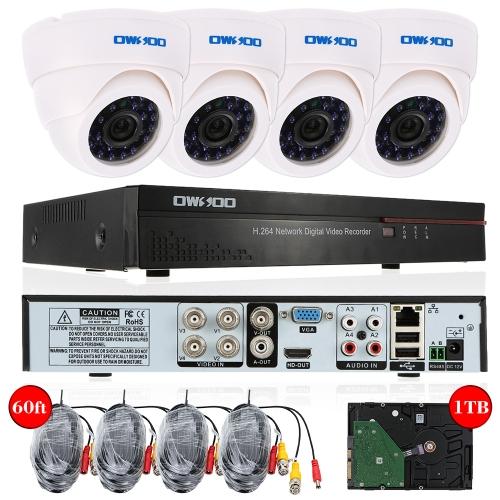 OWSOO 4ch Kanal CCTV Überwachung DVR Sicherheitssystem