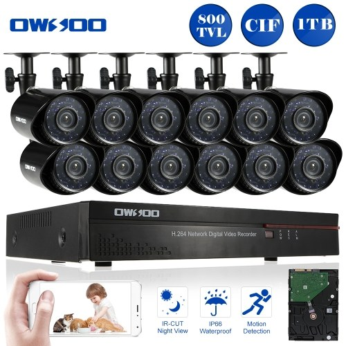 OWSOO 16CH Channel Full CIF 800TVL CCTV Surveillance DVR Security System HDMI P2P Cloud Network Digital Video Recorder + 1TB Hard Disk + 12* Outdoor/Indoor Infrared Bullet Camera + 12*60ft Cable support IR-CUT Night Vision Weatherproof Plug and Play Android/iOS APP PC CMS Browser View Motion Detection Email Alarm