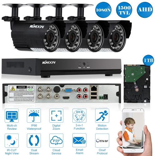 KKmoon® 4CH Channel Full AHD 1080N/720P 1500TVL CCTV Surveillance DVR Security System HDMI P2P Cloud Onvif Network Digital Video Recorder + 1TB Hard Drive + 4*720P Outdoor/Indoor Infrared Bullet Camera + 4*60ft Cable support IR-CUT Filter Infrared Night Vision Weatherproof Plug and Play Android/iOS APP PC CMS Browser View Motion Detection Email Alarm
