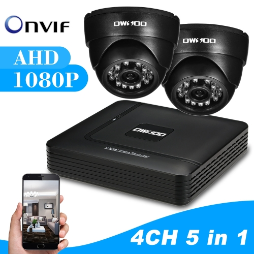 OWSOO 4CH 1080P Hybrid DVR CCTV Camera System