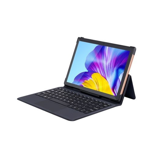 10.1 inch Tablet MTK6763 Octa-core Processor 1280*800 Resolution Android 8.0 System 4GB+64GB Tablet with Keyboard Gold EU Plug