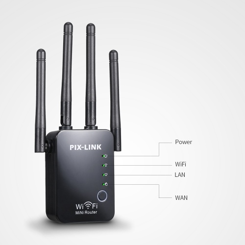 WiFi Repeater/Router/AP Wireless Range Extender Signal Amplifier 300Mbps for Home Office with Four Antennas Black EU Plug