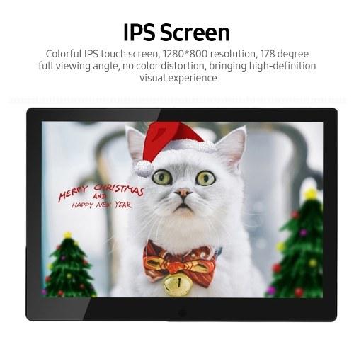 10.1 inch Digital Photo Frame Cloud Electronic Photo Album Touch Screen Support APP Photo Transmission 16GB Memory Black EU Plug