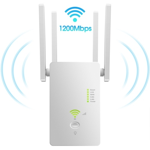 AC1200Mbps WiFi Range Extender/Repeater/Router 802.11n Wireless WiFi Repeater 2.4GHz/5.8GHz with Four Antennas White EU Plug