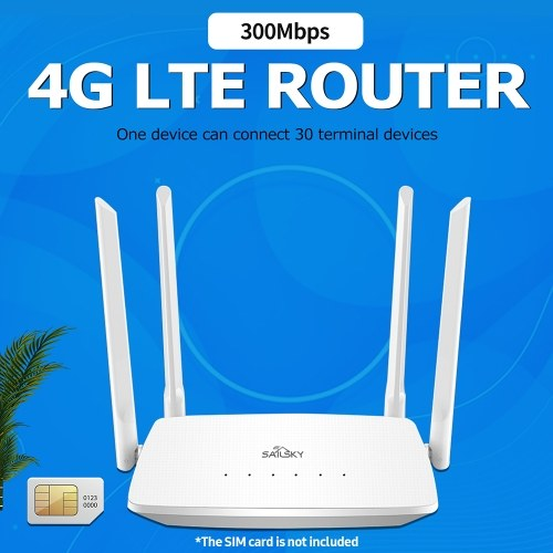 XM286 4G LTE WiFi Router 300Mbps High Speed Wireless Router with 4 High-gain External Antennas SIM Card Slot European Version