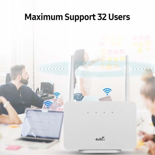 4G Wireless Router LTE CPE Router 300Mbps Wireless Router with 2 High-gain External Antennas SIM Card Slot European Version