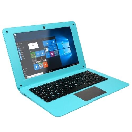 Портативный нетбук с Windows 10 10,1 дюйма с поддержкой TF-карты с четырехъядерным процессором Intel / 2 ГБ + 64 ГБ / Wi-Fi / BT / HD Blue EU Plug