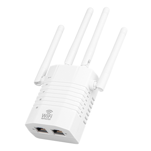 1200Mbps WiFi Repeater WiFi Signal Amplifier 2.4GHz 5GHz Dual Frequency Wireless Signal Booster with 4 Antennas White EU PLug