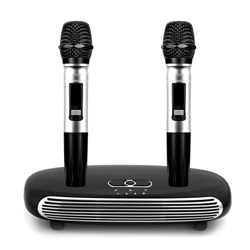 Wireless BT Karaoke Set with Dual Wireless BT Microphone for Smart TV/Set-top Box/Computer/Smart Phone Black Karaoke Box EU Plug