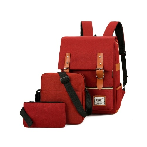 Large Capacity Computer Backpack Fashion Business Bag Outdoor Leisure Travel Bag Set with External USB Port Wine Red, TOMTOP  - buy with discount