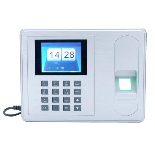 Intelligent biométrico de impressão digital senha Presença Máquina Employee check-in Recorder 2.4 polegadas TFT LCD DC 5V tempo presenças relógio