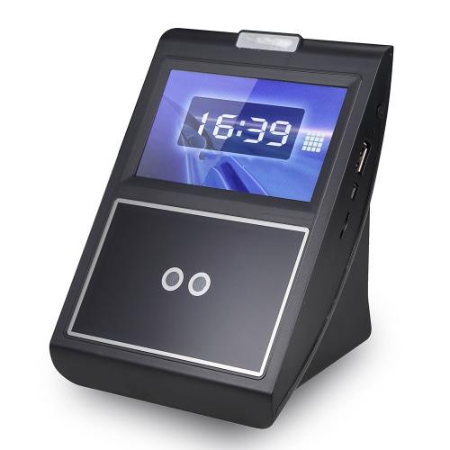 Face & senha Presença Máquina Employee check-in Payroll Recorder TCP / IP de 4,3 polegadas HVGA Tela DC 12V Reconhecimento Facial comparecimento do tempo Relógio