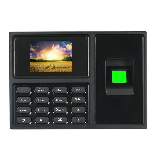Intelligent Biometric Fingerprint Password Attendance Machine Employee Checking-in Recorder 2.4 polegadas TFT LCD Screen DC 5V Horário de atendimento