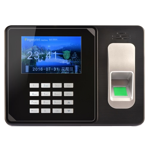 Intelligent Biometric Fingerprint Password Attendance Machine Employee Checking-in Recorder TCP/IP 4.0 inch TFT LCD Screen DC 5V Time Attendance Clock