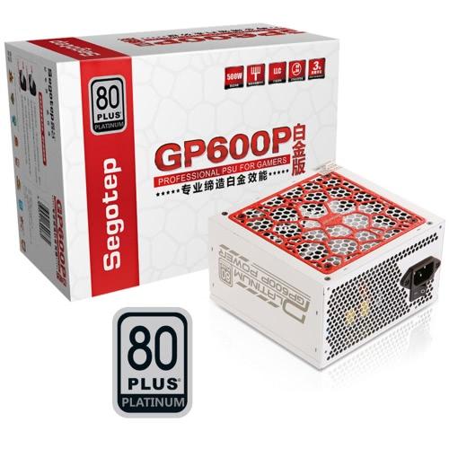 Segotep 500W GP600P ATX PC Zasilacz komputerowy Pulpit do gier Zasilacz 80Plus Platinum Aktywny PFC DC-DC 94% Sprawność Uniwersalny Wejście AC 100-240V