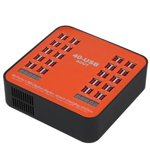 Carregador de parede USB de 40 portas USB de 200W Estação de carregamento inteligente digital com plugue dobrável para iPhone 7S / 6S / 5S / 4S, para iPad PDA, para SamsungP1000 Perfeito para estação de carga centralizada centralizada