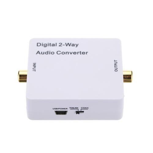 Conversor de áudio digital de 2 vias Toslink opcional Conversor bidirecional SPDIF / coaxial Amplificador de sinal de áudio Separador de divisão com adaptador de alimentação