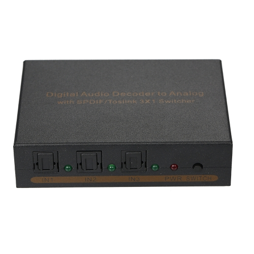 Decodificador de áudio digital para analógico com interruptor SPDIF / Toslink 3 * 1