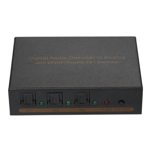 Dekoder dźwięku cyfrowego na analogowy z przełącznikiem SPDIF / Toslink 3 * 1