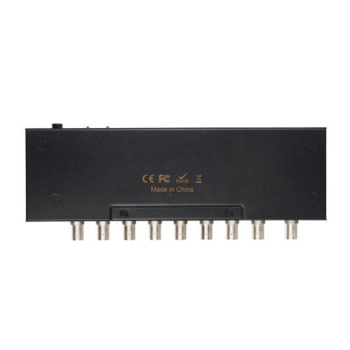 Najwyższej jakości SDI Splitter 1 * 8 obsługuje SD-SDI / HD-SDI / 3G-SDI (1 wejście i 8 wyjść)