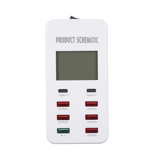 Quick Charge 3.0 8A Carregador de parede USB de 6 portas e 2 portas Tipo-C Carregador de mesa Estação de carregamento com display LCD Tecnologia de detecção automática de IC inteligente