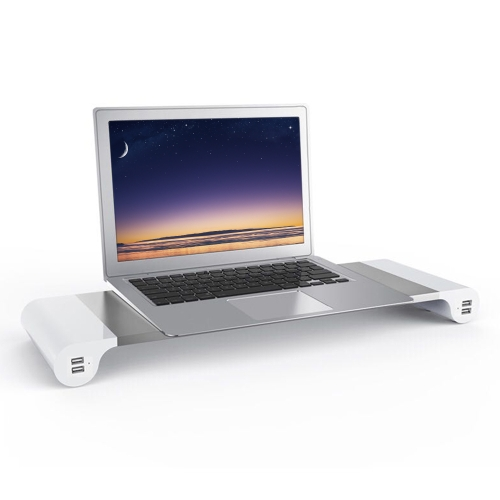 Supporto per monitor in alluminio Space Bar Desk Organizer con 4 porte USB