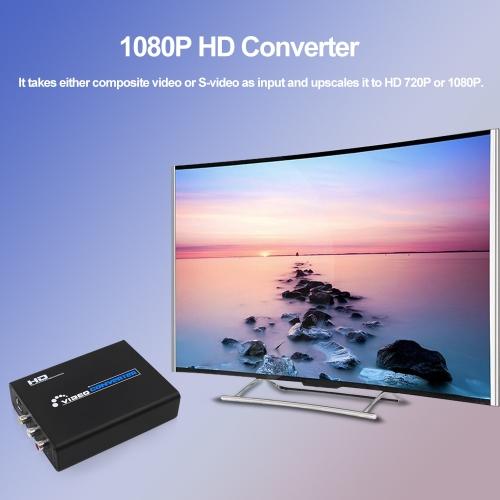 1080P HD Converter 3RCA AV CVBS Composite & S-Video R-L Audio to HD Converter Adapter US Plug Black