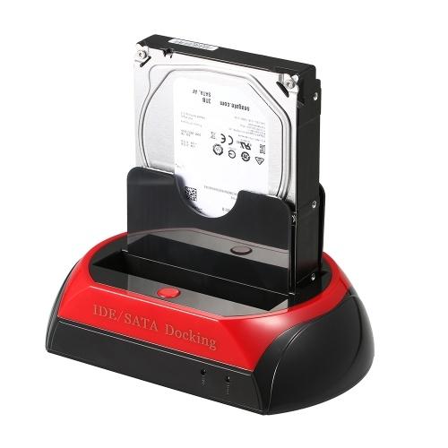 Estación de acoplamiento HDD Base de estación de acoplamiento de unidad de disco duro dual Base para 2.5 pulgadas 3.5 pulgadas IDE / SATA USB 2.0