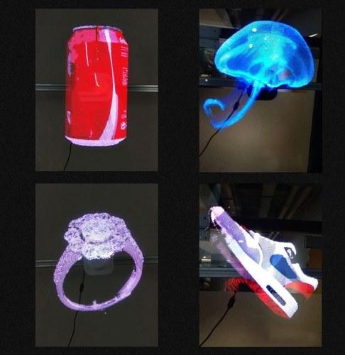 3D ثلاثية الأبعاد الهائل AD LED مروحة التصوير المجسم العارض