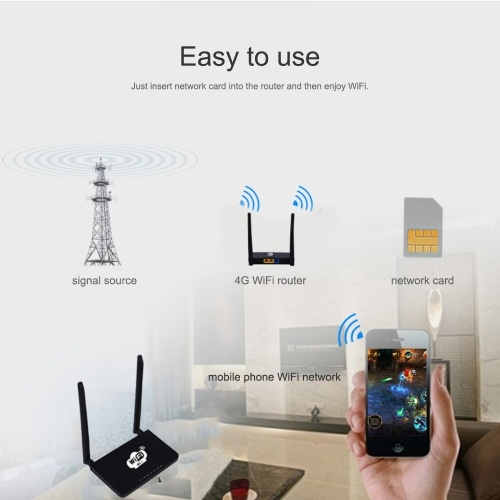 4G Wireless Wifi Router LTE 300Mbps Mobile MiFi Portable Hotspot with SIM Card Slot EU Plug(Black)