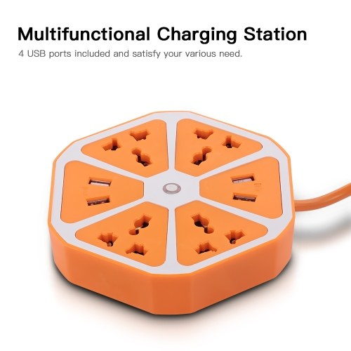 Hexagon Charging Station Switched Socket Extension Adapter 4 USB Ports EU Plug 1.6M(Orange)