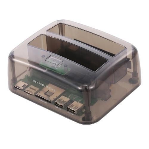 Док-станция с жестким диском USB 3.0 - 2.5 / 3.5-дюймовый жесткий диск SATA Жесткий диск с двумя отсеками Жесткий диск SSD Быстрая скорость Установка без инструментов фото