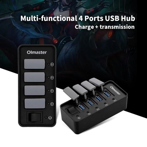 OImaster 4 порта USB 3.0 концентратор 5 Гбит / с Высокоскоростной концентратор Поддержка быстрой зарядки Windows / XP / Linux / Mac / Mix с пылезащитной крышкой фото