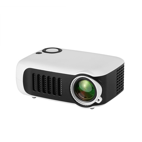 Mini Portable Projector 1080P LCD 50,000 Hours Lamp Life Home Theater Video Projector Lightweight and Support Power Bank for TV Box/XBOX/TF Card/U Disk (White) EU Plug