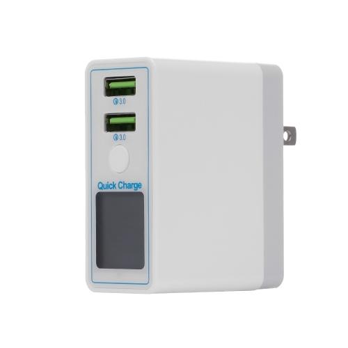 Schnellladung 2 Anschlüsse USB Handy Ladekopf Digitalanzeige Intelligent Universal Double Holes QC3.0 Schnellladung EU Stecker