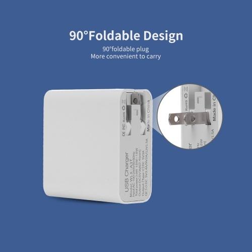 Schnellladung 4 Anschlüsse USB-Telefon Computer iPad-Ladegerät Typ C-Anschluss Universelle doppelte Löcher QC3.0 USB-Ladegerät EU-Stecker