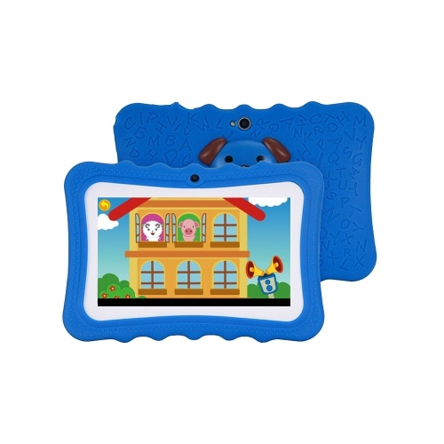 Q728 Quad Core 7inch Tablets PC WIFI Educational Learning Computer for Children Kids Android 4.4 with Silicone Case Blue EU Plug
